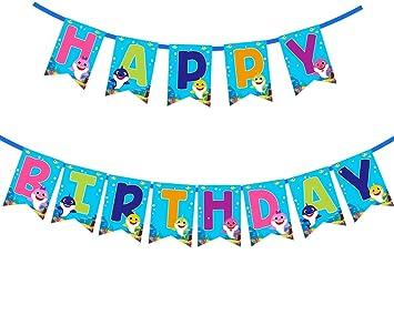 Amazon.com: Baby Shark - Pancarta de cumpleaños para niños y ...