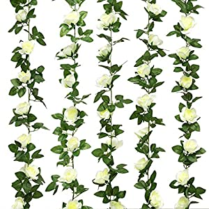 Yebazy Jinway Fake Rose Vine Garland Artificial Flowers Plants for Hotel Wedding Home Party Garden Craft Art Decor Pink (2) 41