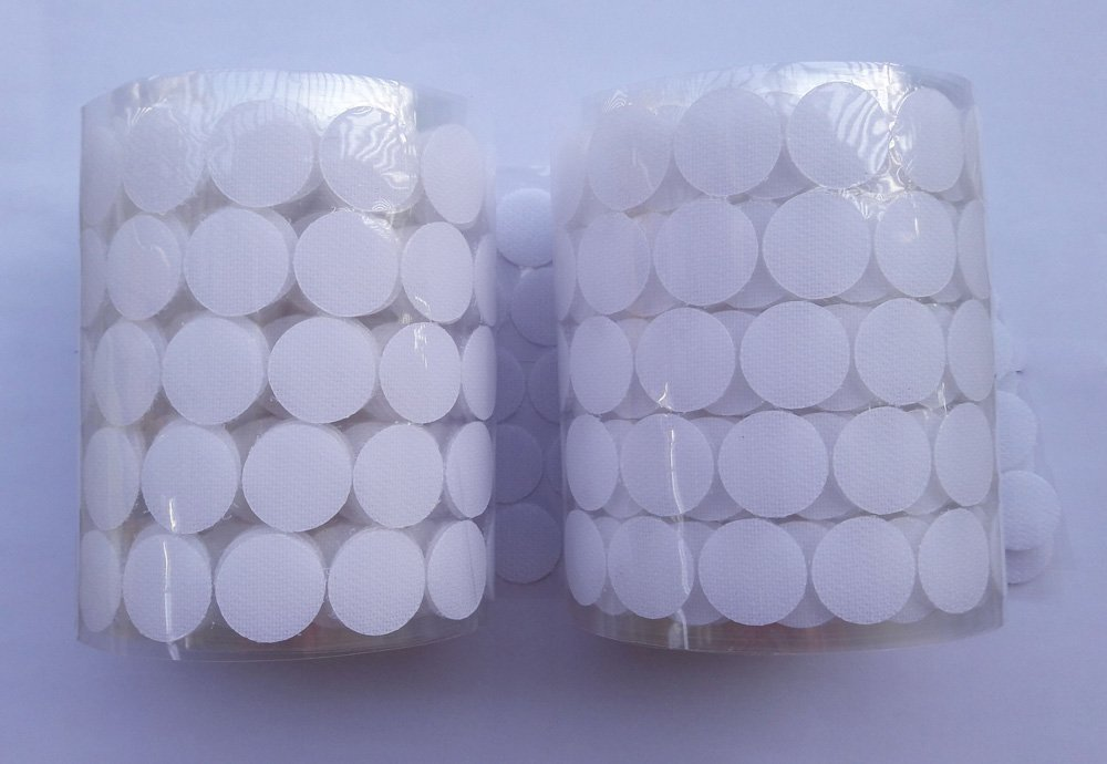 HomeABC 1000pcs Sticky Back Coins Loop Adhesive Tapes, 3/4'' Diameter, White