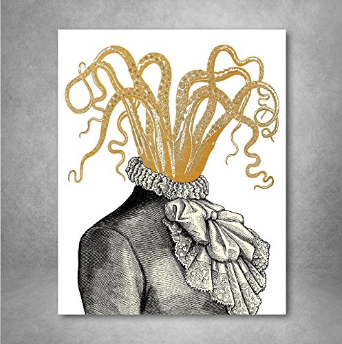 Gold Foil Art Print - Victorian Octopus Woman With Gold Foil