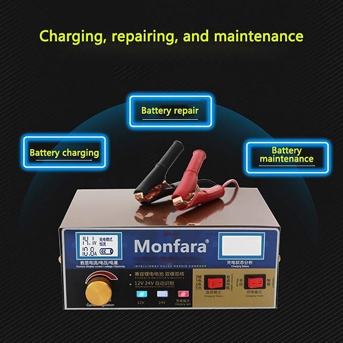 YTBLF Cargador de bater/ía para autom/óvil de 12V // 24V bater/ía Seca Adecuado para la bater/ía de Agua con Capacidad de 60AH-200AH protecci/ón Inteligente para la reparaci/ón de impulsos