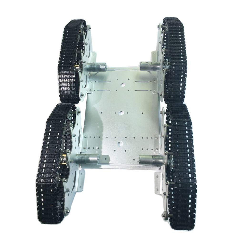 Almencla タンク シャシ一 モバイルプラット フォーム 4WD アルミ合金製 耐衝撃性 DIY 負荷約5kg B07P24D6ZX
