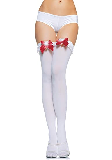 ed0eb0f3e0071 Leg Avenue Women's Lace Ruffle Top Opaque Thigh High Stockings, White/Red,  One