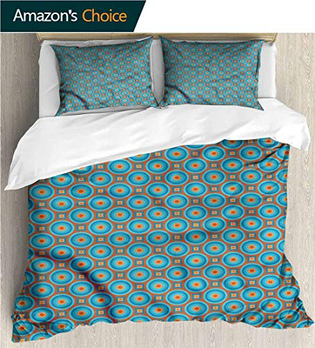 carmaxs-home European Style Print Bed Set,Box Stitched,Soft,Breathable,Hypoallergenic,Fade Resistant 100% Cotton Bedspread/Quilt Set,3 Pieces-Retro Geometric Design Bullseye (87