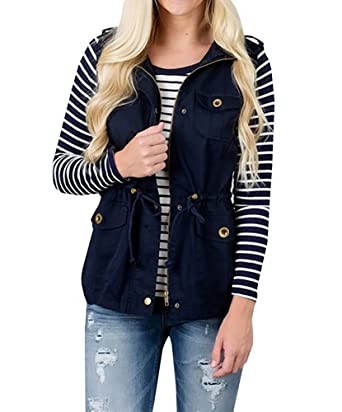 06a4e4317df55 ThusFar Women s Zip Up Drawstring Sleeveless Jacket Military Anorak  Lightweight Vest with Pocket Dark Blue S