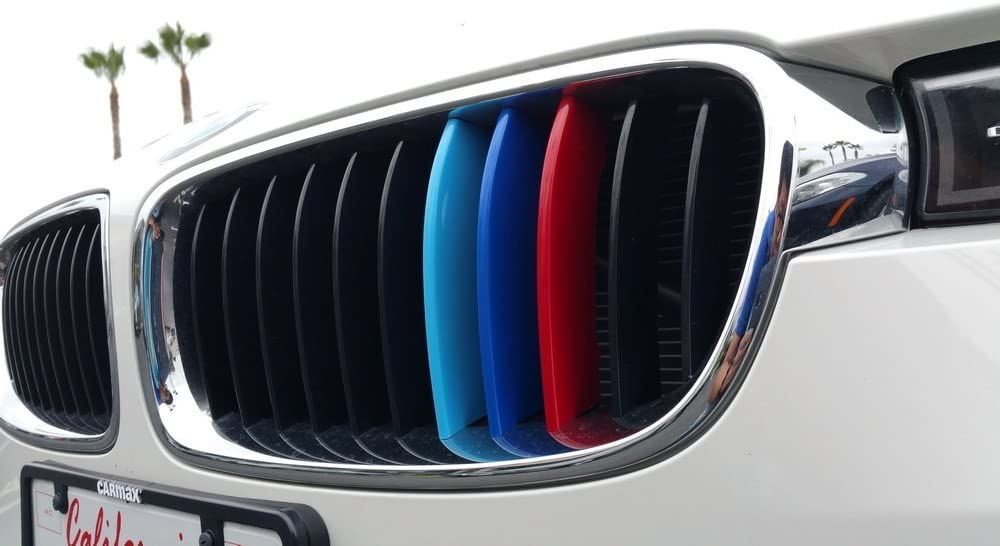 iJDMTOY Exact Fit //////M-Colored Grille Insert Trims For 2009-2015 BMW E84 X1 Center Kidney Grilles 7 Beams