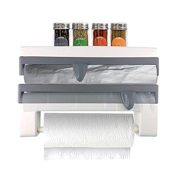 Dispensador de cocina Multi | multifuncional 4 en 1 montado en la pared organizador para regular
