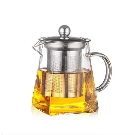 ROKTONG Teteras de Vidrio con infusor, 450 ml en Forma Cuadrada ...