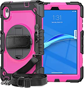 SIBEITU Case Compatible with Lenovo Tab M8 FHD for Kids with Screen Protector   Lenovo M8 Tablet Case 8 Inch 2020/2019   Heavy Duty Rugged Shockproof Cover with Stand for Lenovo Tab M8 HD   Rose Red