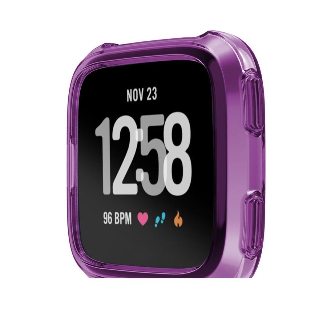 Iusun For Fitbit Versa Smartwatch Screen Protector, Ultra HD Clear Film Anti Scratch Skin Guard Soft TPU Protection Silicone Full Case Cover For Fitbit Versa Smartwatch (Purple)