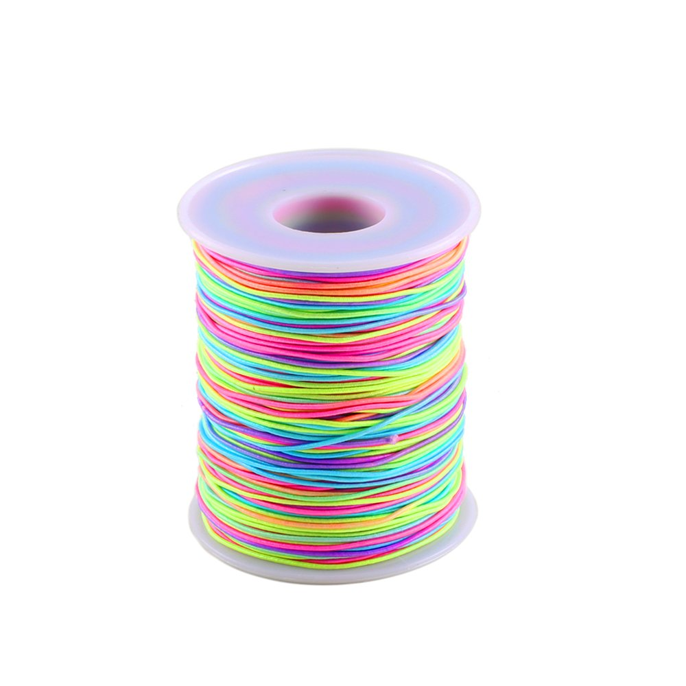 Colorful Elastic Cord MANYEE 1mm 109Yards Round Rainbow Elastic Beading Thread Cords Fabric Crafting Stretch String Cord for Jewelry Making Necklace Bracelet