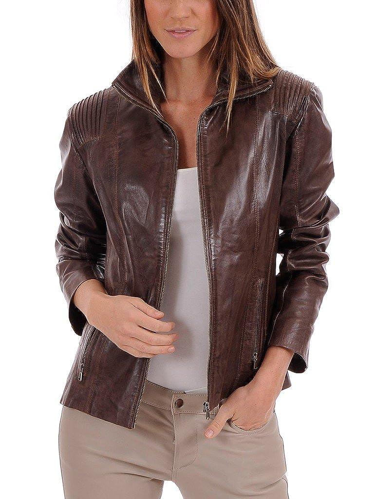 Brown Leather Market Women's 100% Lambskin Leather Bomber Biker Jacket Outfit