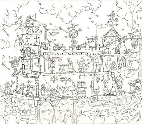 Amazon.com: Medieval Castle Colouring Poster - Giant Size: 100 x 75 ...