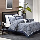 Madison Park MP10-1660 Medina 8Piece Jacquard Comforter Set Cal King , Navy, Cal King,Navy,Cal King