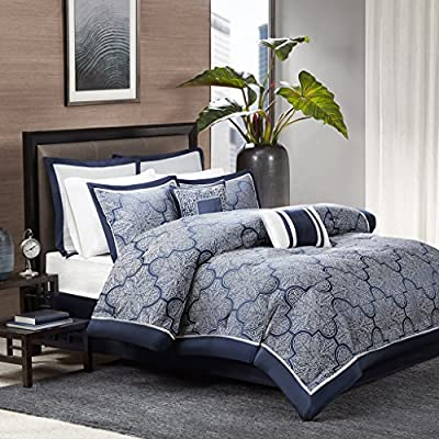 Madison Park Medina 8 Piece Jacquard Comforter Set, Navy, Cal King - Set includes: 1 comforter, 2 King shams, 1 bed skirt, 2 euro shams, 2 decorative pillows Cover: 100Percent polyester filling: 100Percent polyester Machine washable - comforter-sets, bedroom-sheets-comforters, bedroom - 615KRrm84EL. SS400  -