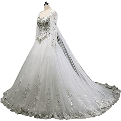 5f35bf60f9 APXPF Women s Long Sleeves Crystals Wedding Dress for Bride with Long Train  - Ivory - 6