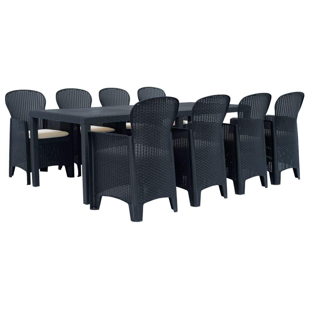 Tidyard 9-TLG. Garten-Essgruppe Gartengarnitur Kunststoff Gartenmöbel Set Sitzgruppe Rattan-Optik Anthrazitgrau, Essgarnitur inkl. 1 Gartentisch und 8 Gartenstühle mit Sitzpolster