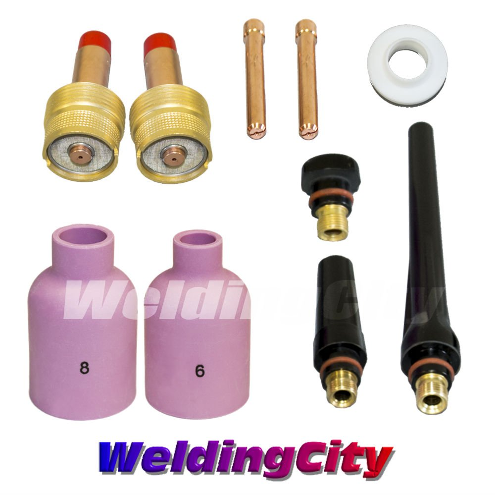 17//Set TIG Welding Torch 17//18//26 Kit Gas Lens-Tungsten 1//16-3//32-1//8/""