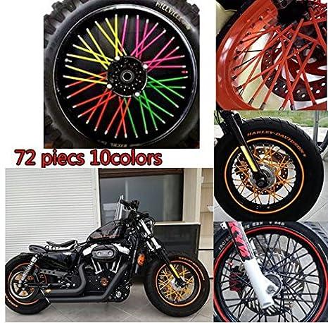 Tencasi Universal 72 Piezas Radios de llanta de Rueda Wrap Decor Kit Protector para Moto Bicicleta Reflective Banner Bike Bumpe: Amazon.es: Coche y moto
