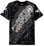 Southpole Men's Short Sleeve Foil and Screen All Over Logo Graphic Tee, Black, Small