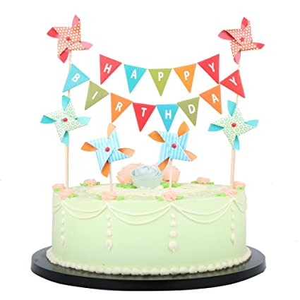 Lxzs Bh Happy Birthday Cake Topper Banner With Small Windmill Cake