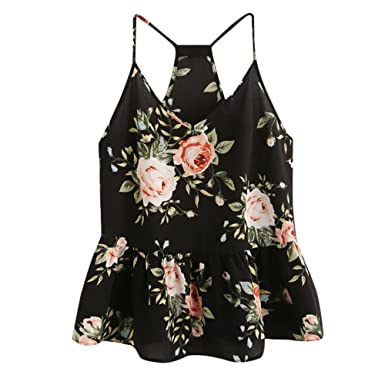 46660105cd2df Handyulong Women Camisole Tank Tops Casual Sumemr Shirts Sleeveless Floral  Print Swing Cami Vest Blouse for