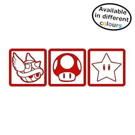 Mario Kart Sticker Wall Window Car Door Home 3 Weapons Shell Toadstool Star  Vinyl Decal (Small - 4cm x 14cm)
