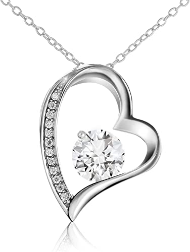 """NEW CZ LOVE  .925 Sterling Silver Pendant Necklace 16/""""+1/""""EXT"""