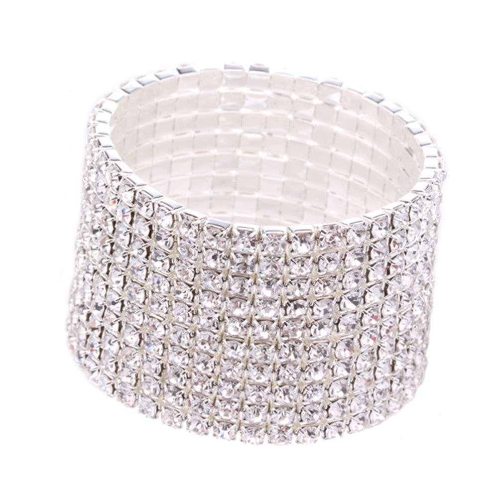 Leyorie Rhinestone Stretch Silver Bracelet for Wedding Prom Party Pageant Wide Cuff Multilayer Wristband