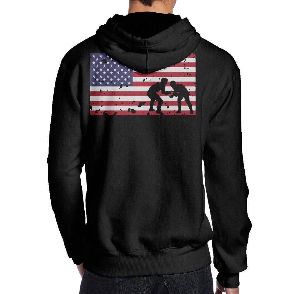 BB&YYY American Flag Wrestling Mens' Pullover Hoodie Sweatshirt Back Print Hoodies by BB&YYY