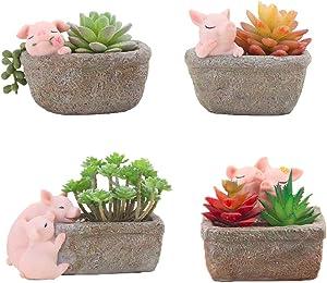 Youfui Home Decor Pot, Pig Succulent Planter Flowerpot Decor for Home Office Desk (4pcs Pigs)