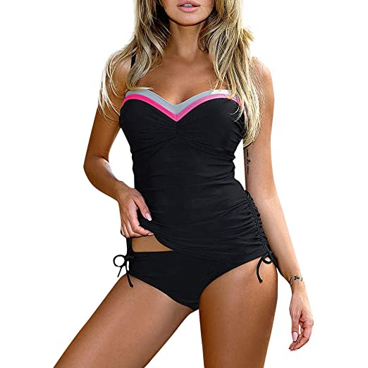 724365556fcea Amazon.com: Womens Retro Bathing Suit Vintage Tankini Striped Print Ruched  Pleated Swimsuit Halter 2 Piece Swimwear Bikini Set: Clothing