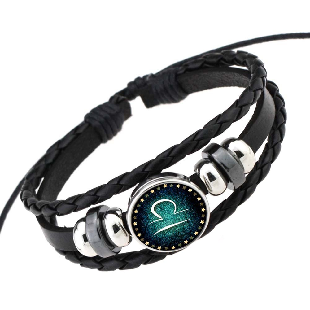Rosemes Retro 12 Constellation Beaded Hand Woven Leather Bracelet PUNK Chain Cuff Libra
