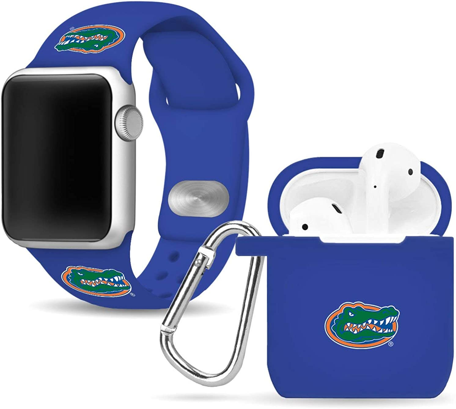 Florida Gators Silicone Watch Band & Case Cover Combo Package Compatible with Apple Watch and AirPods Battery Case