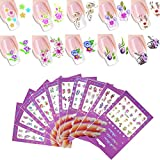 #6: 10 Sheet Flower Nail Art Stickers Decals Self-Adhesive Sticker Tattoo, Water Transfer DIY Fingernail Nails Design Tips (Stickers A)