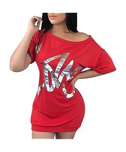 MORCHAN Mode Femmes Sexy V Cou Strass Déchiqueté Tee Débardeurs Évider Gilet (XL, Rouge)