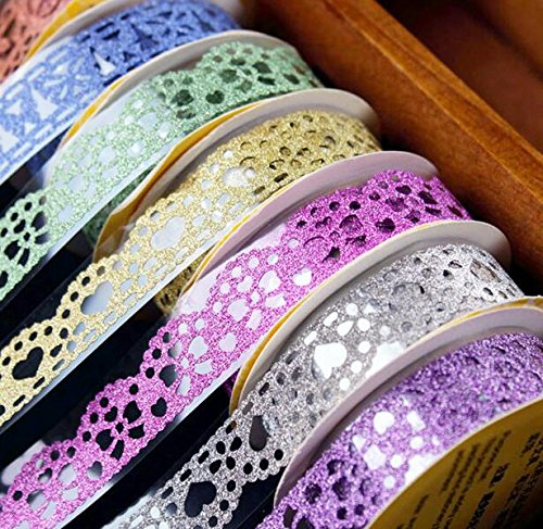 Washi Tape,Lace Pattern Glitter Bling Self-adhesive Tape,Diamond Washi Tape Masking DIY Scrapbooking Lace Tape Sticker 6 Roll Color random (Girl Stickers Glitter)