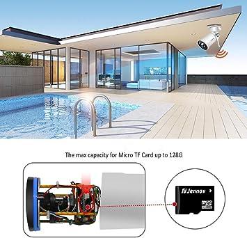 dxx Vigilancia inalámbrica Cámara de seguridad para exteriores 1080P, circuito cerrado Ip 4X Zoom 64G Tarjeta de memoria Wif Cámara Grabación de detección de movimiento: Amazon.es: Bricolaje y herramientas