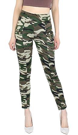 mode Hose Leggings Camouflage Treggings Stoffhose Dy Damen
