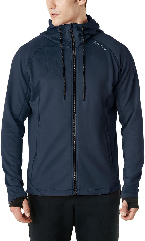 TSLA Mens Performance Active Training Full-Zip Hoodie Jacket