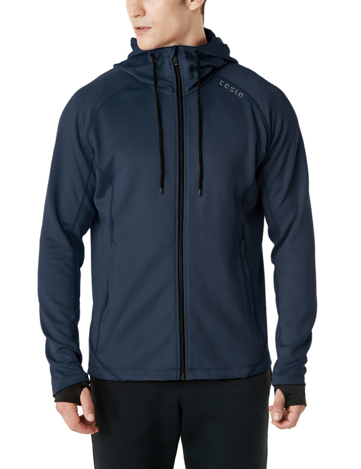 TSLA Men's Performance Active Training Full-Zip Hoodie Jacket, Active Fullzip(mkj03) - Navy, XXX-Large by TSLA