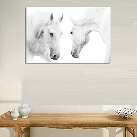 Amazon.com: White Horse Painting Canvas Wall Art Picture Home ...