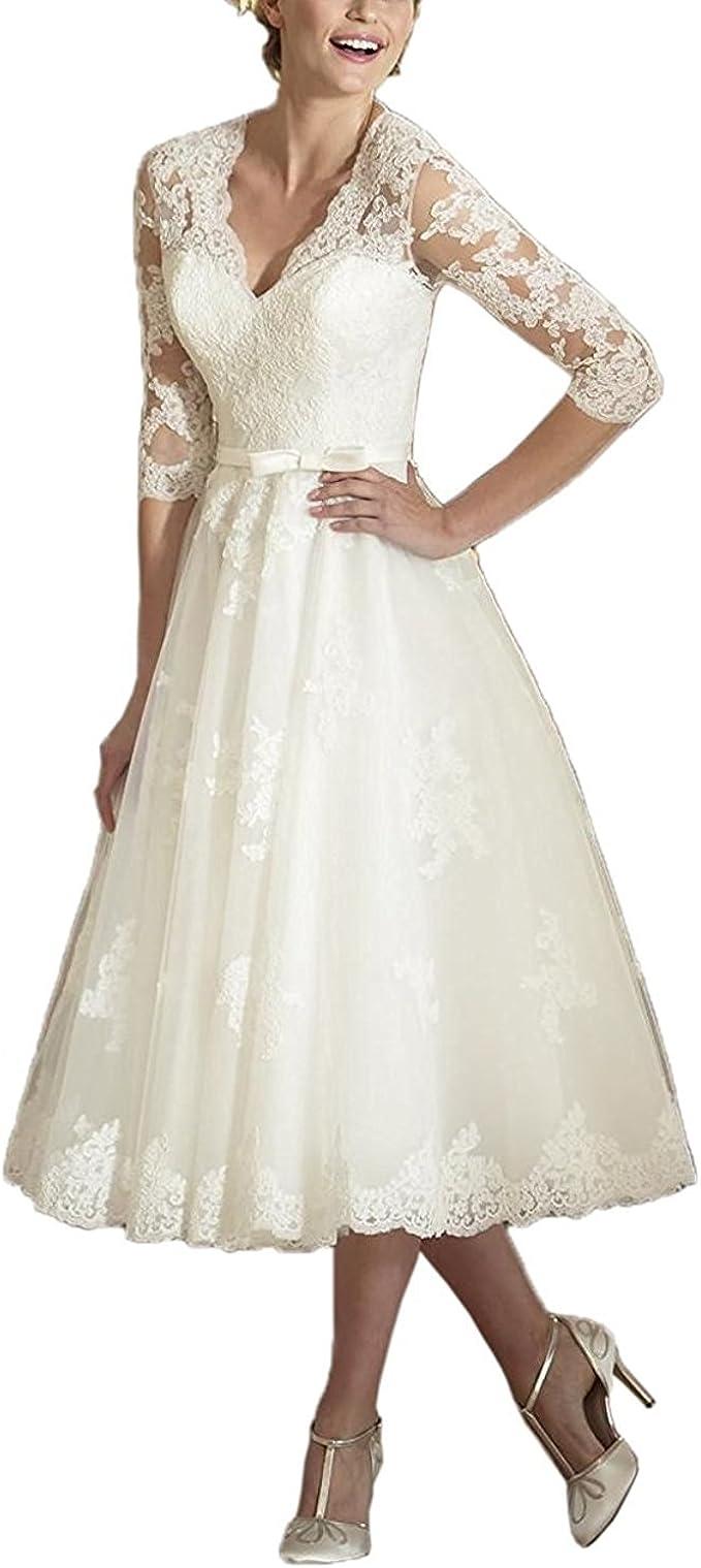 YASIOU Hochzeitskleid Elegant Damen Weiß Tee-lang Standesamt Tüll Spitze A  Linie 15/15 arm Brautkleid mit ärmel