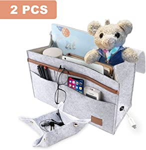 Bedside Organizer Caddy Storage Bag, Large Capacity Felt Bedside Caddy with Adhesive Strap Strap and Power Strip Compartment, Under Mattress Holder Bag for Book, Phone, Remote, Laptop (Light Gray)