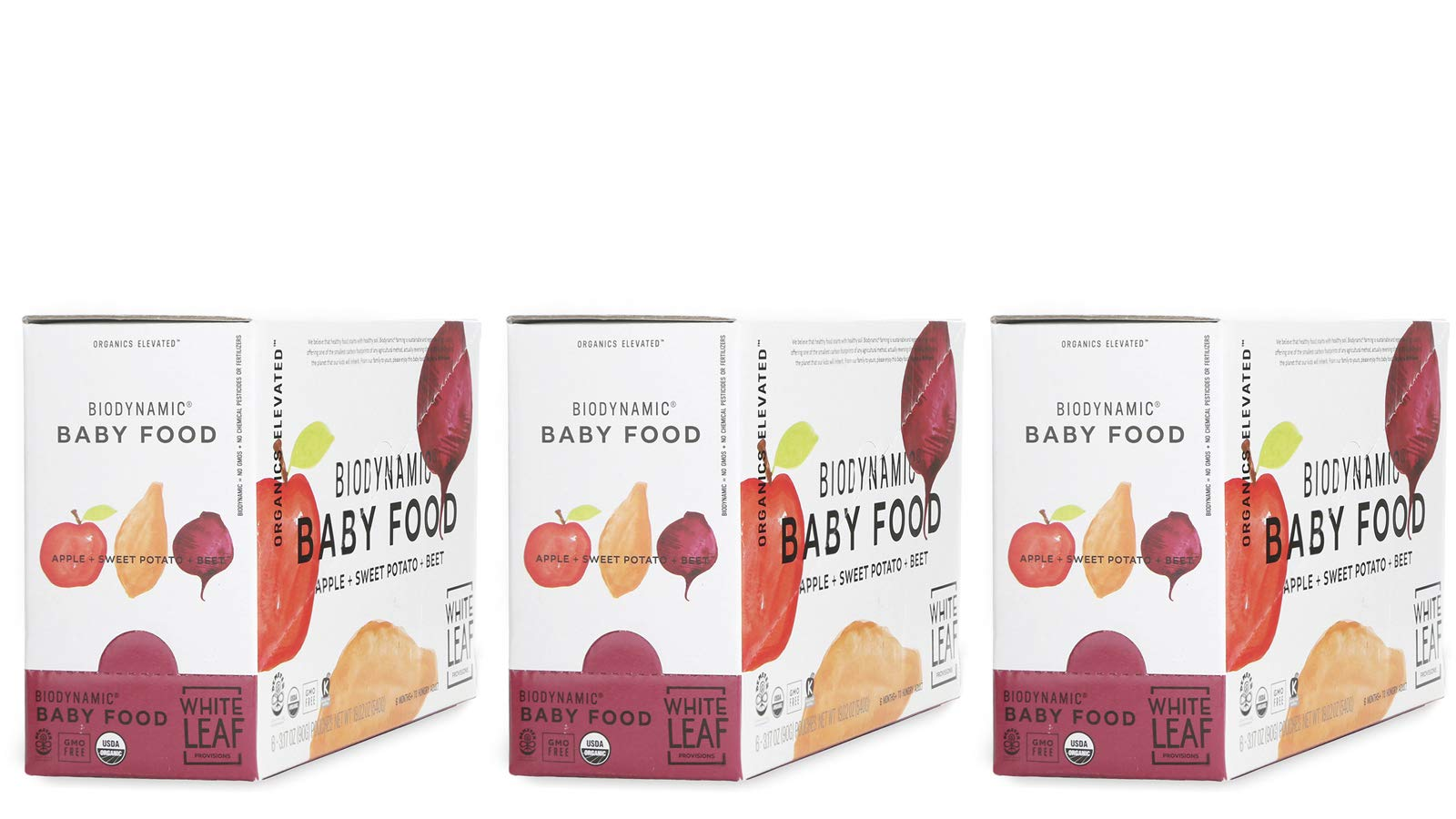 Biodynamic Organic Baby Food - Apple+Sweet Potato+Red Beet (18) 90g pouches in 3 cartons)