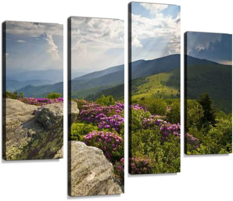 Appalachian Trail Roan Mountains Rhododendron Bloom on Blue Ridge Peaks Canvas Wall Art Hanging Paintings Modern Artwork Abstract Picture Prints Home Decoration Gift Unique Designed Framed 4 Panel
