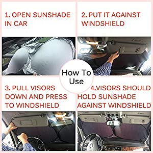 Windshield Sun Shade, Foldable Car Windshield Sunshade, UV Ray Sunlight Sun Visor Blocker Reflector Protector Shields Auto Front Window Sunshade for Car SUV Truck Minivan Vans Vehicle Windshield