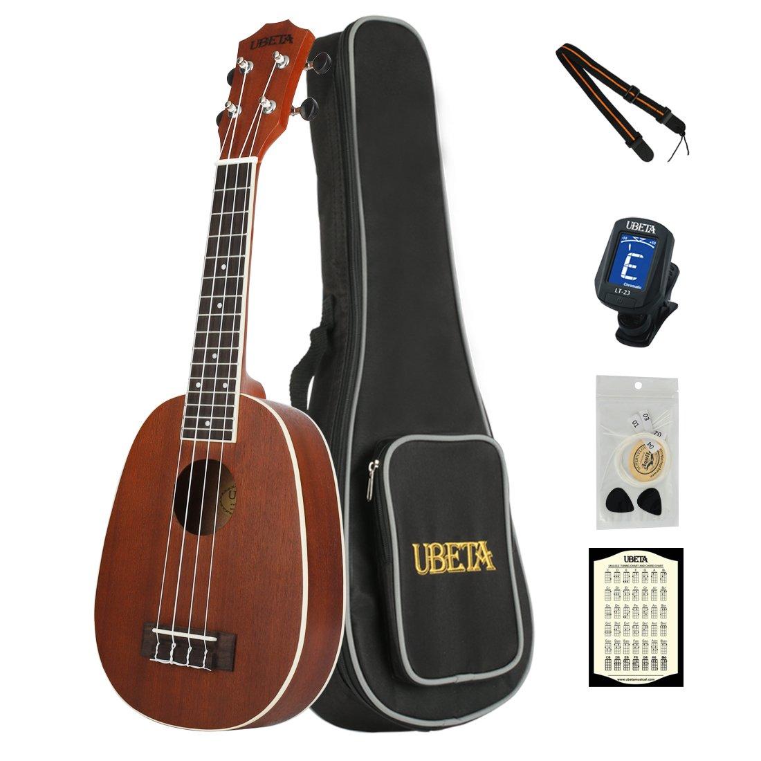 UBETA UB-21PA-N Mahogany Pineapple Soprano Paquete de ukelele para principiantes de 21 pulgadas con bolso Gig, afinador con clip, picos, cuerdas Aquila, tarjeta de acordes y correa