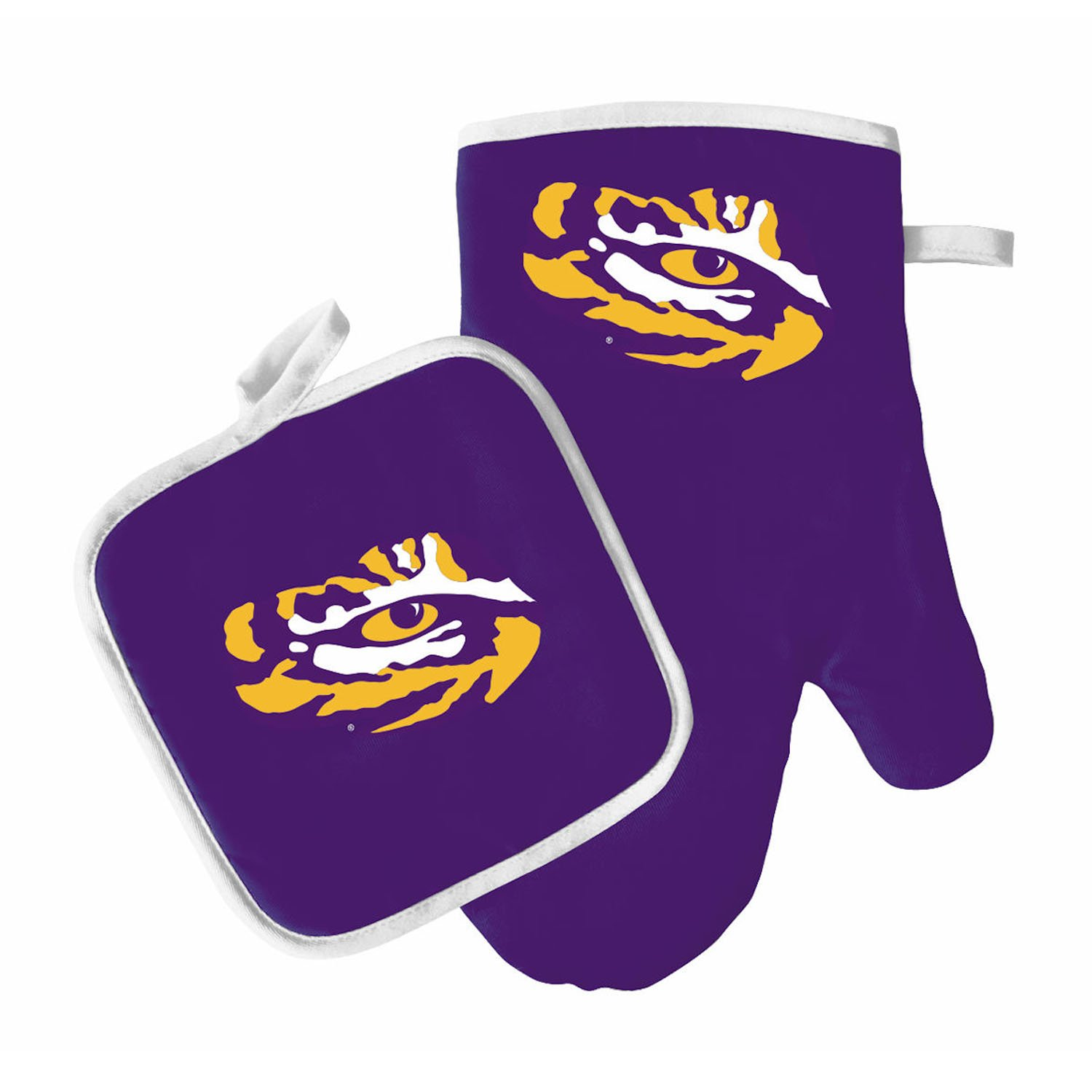 Pro Specialties Group Oven Mitt and Pot Holder Set - Barbeque BBQ Kitchen Backyard Outdoors - NCAA - LSU Tigers
