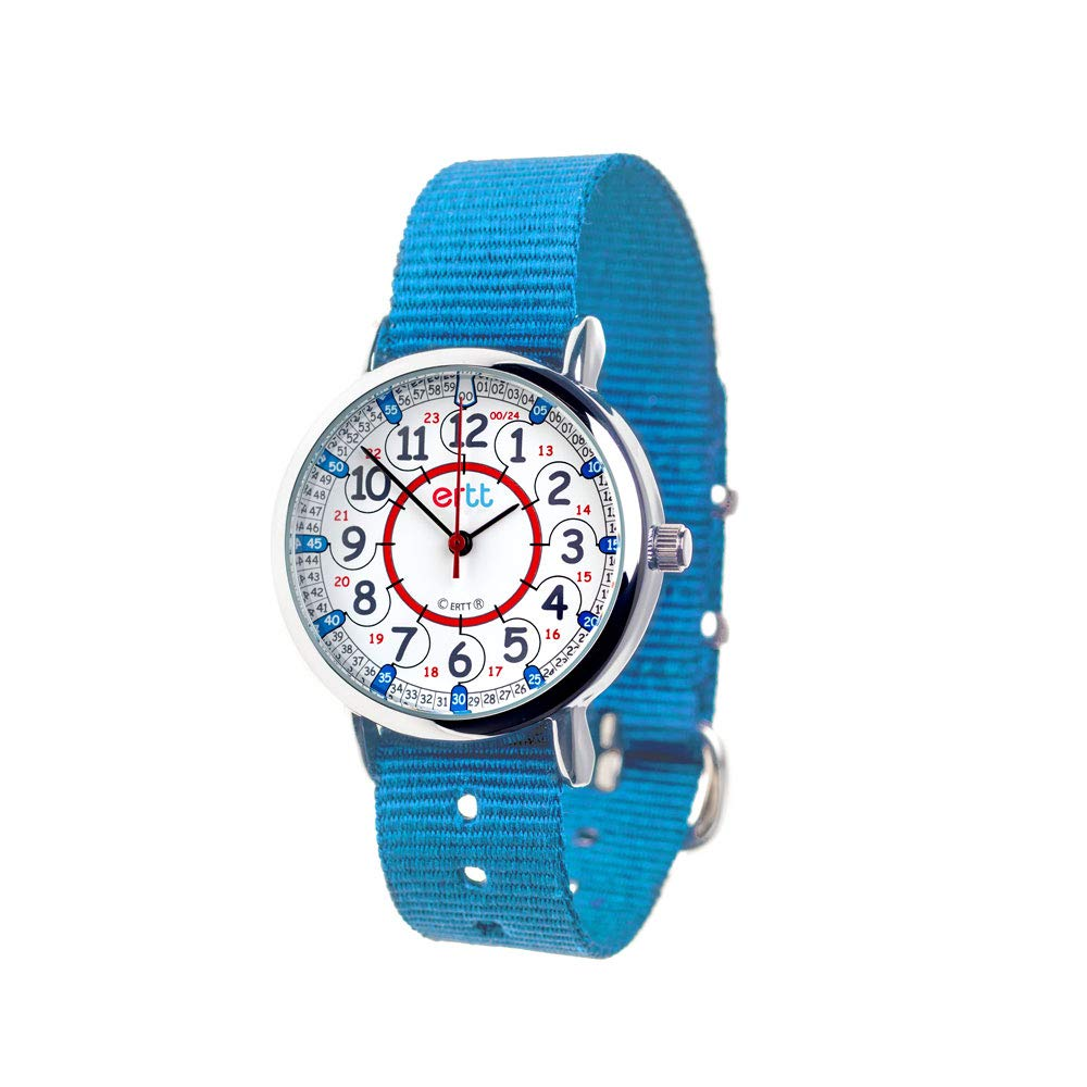 EasyRead Time Teacher Children's Watch, 12 & 24 Hour Time, Red Blue Grey Face/Blue Strap